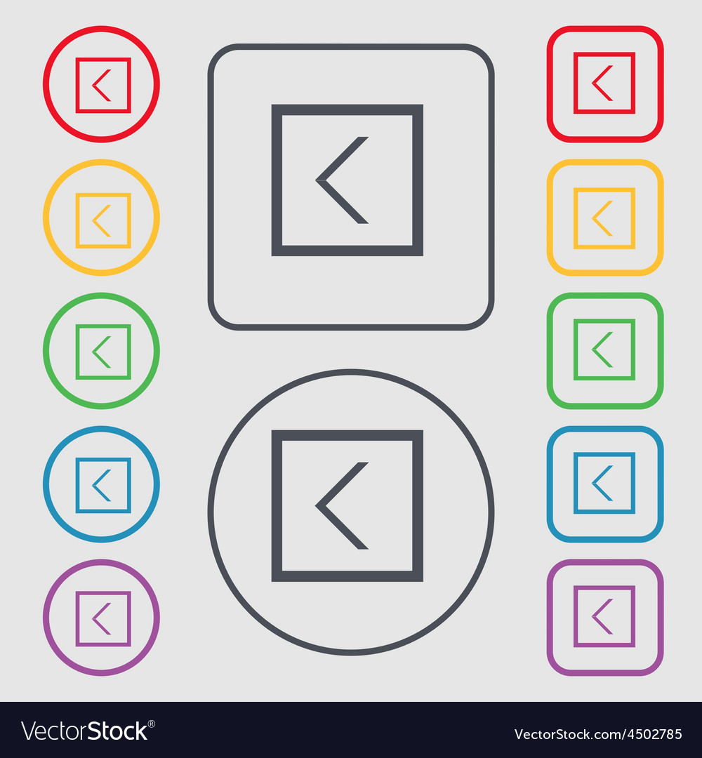 Arrow left way out icon sign symbol on the round vector   Price: 1 Credit (USD $1)