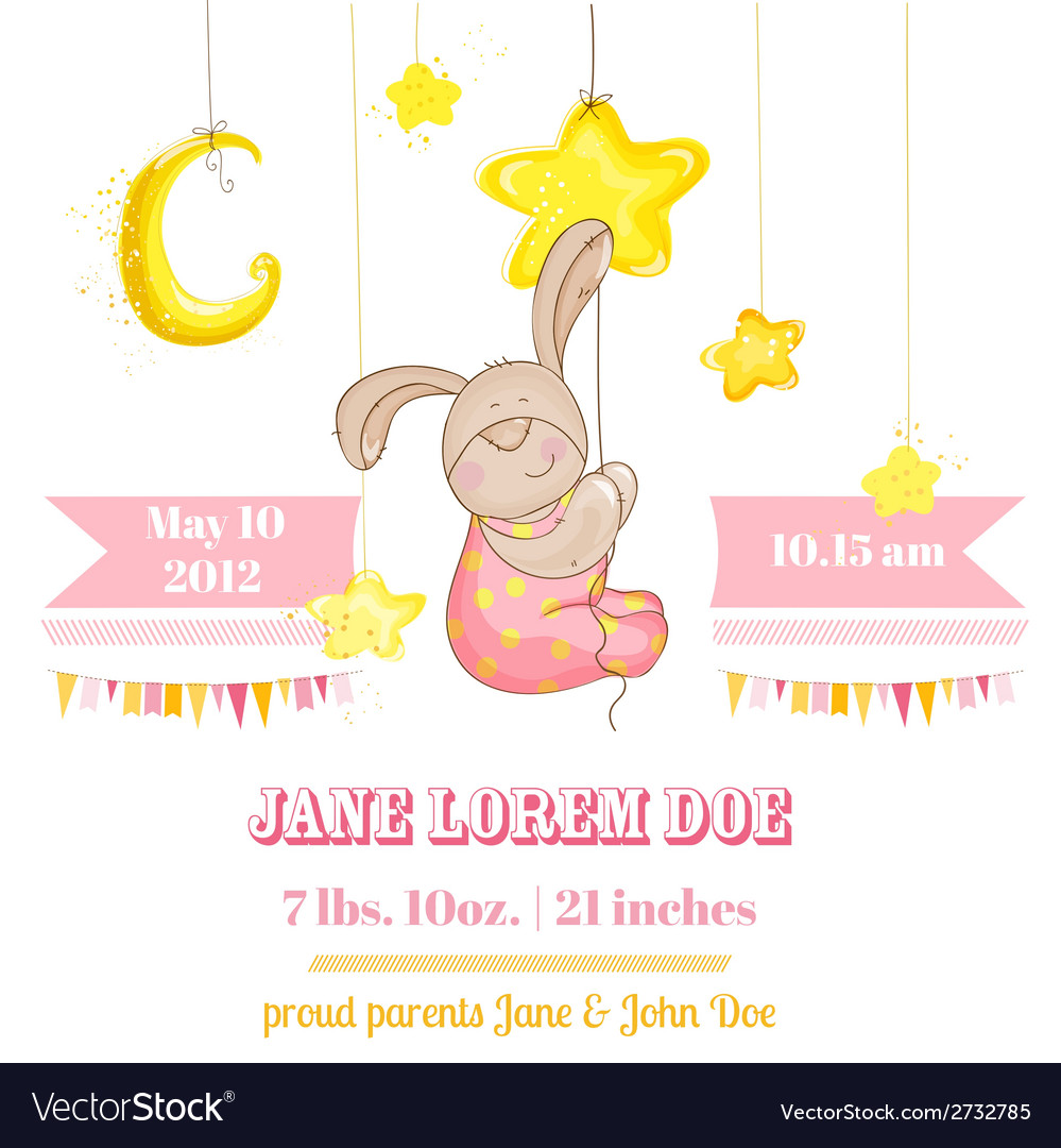 Baby girl arrival card - with baby bunny and stars vector | Price: 3 Credit (USD $3)