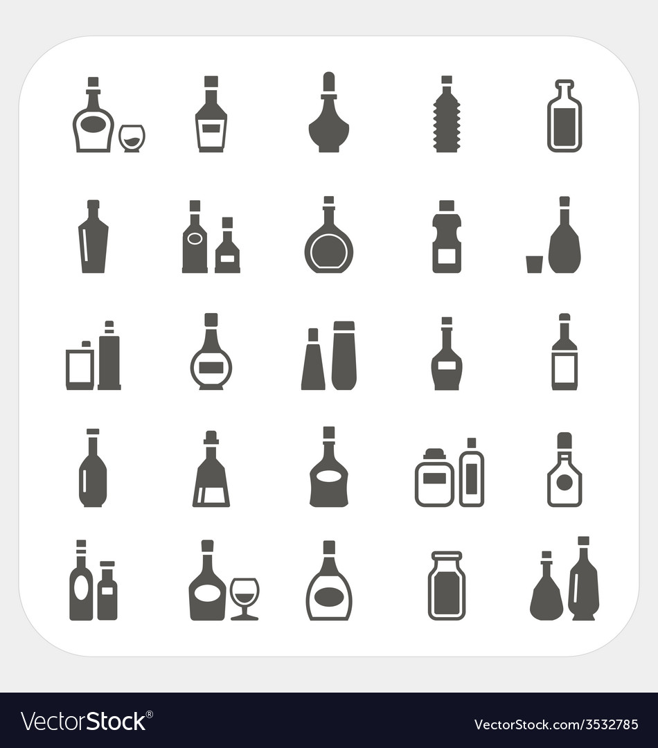 Bottle icons set vector | Price: 1 Credit (USD $1)