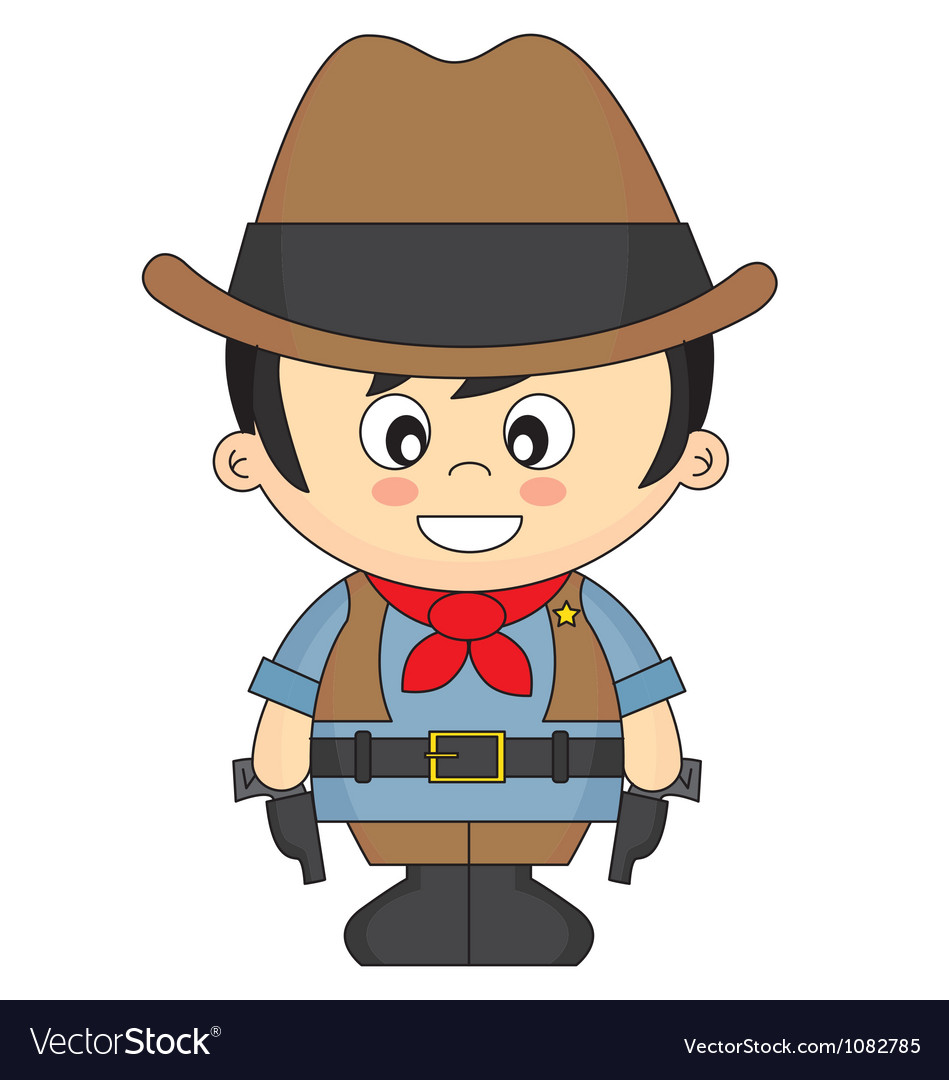 Child dressed as cowboy vector | Price: 1 Credit (USD $1)