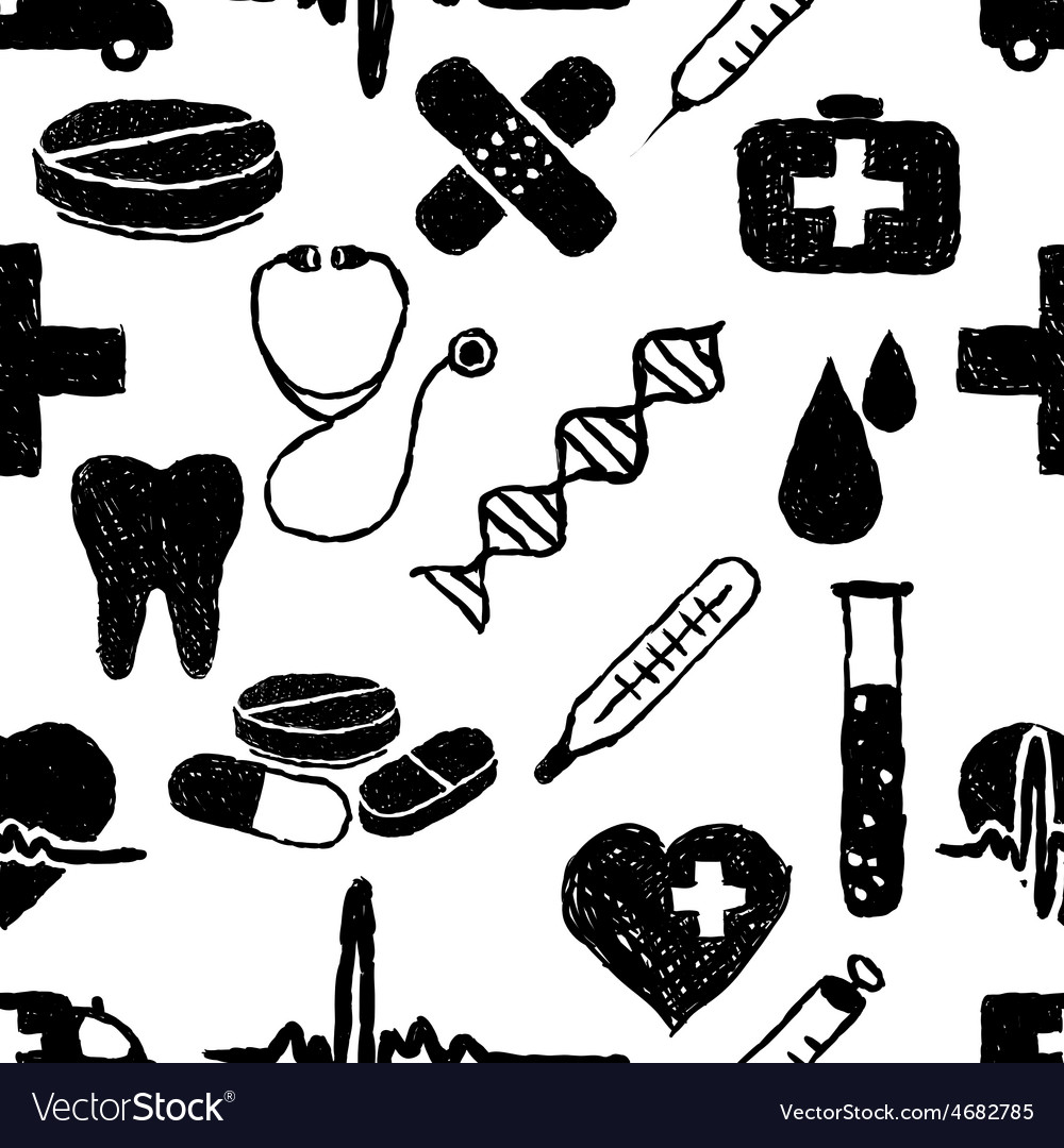 Doodle medical seamless pattern vector | Price: 1 Credit (USD $1)