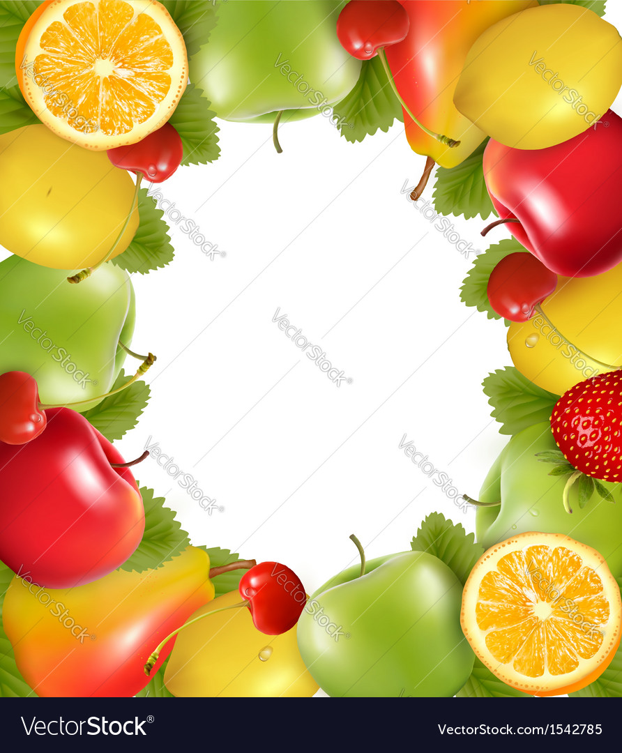 Frame made of fresh juicy fruit vector | Price: 1 Credit (USD $1)