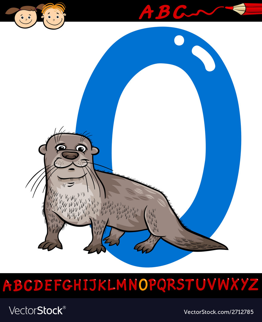 Letter o for otter cartoon vector | Price: 1 Credit (USD $1)