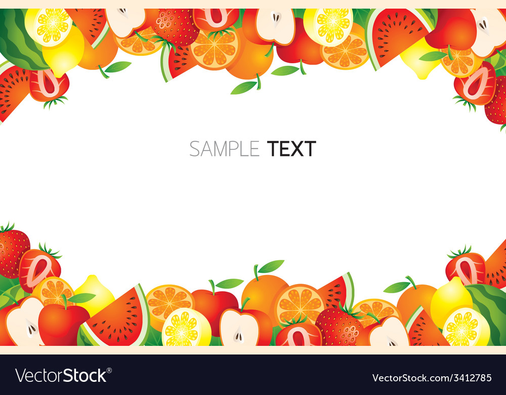 Mixed fruits frame border vector | Price: 1 Credit (USD $1)