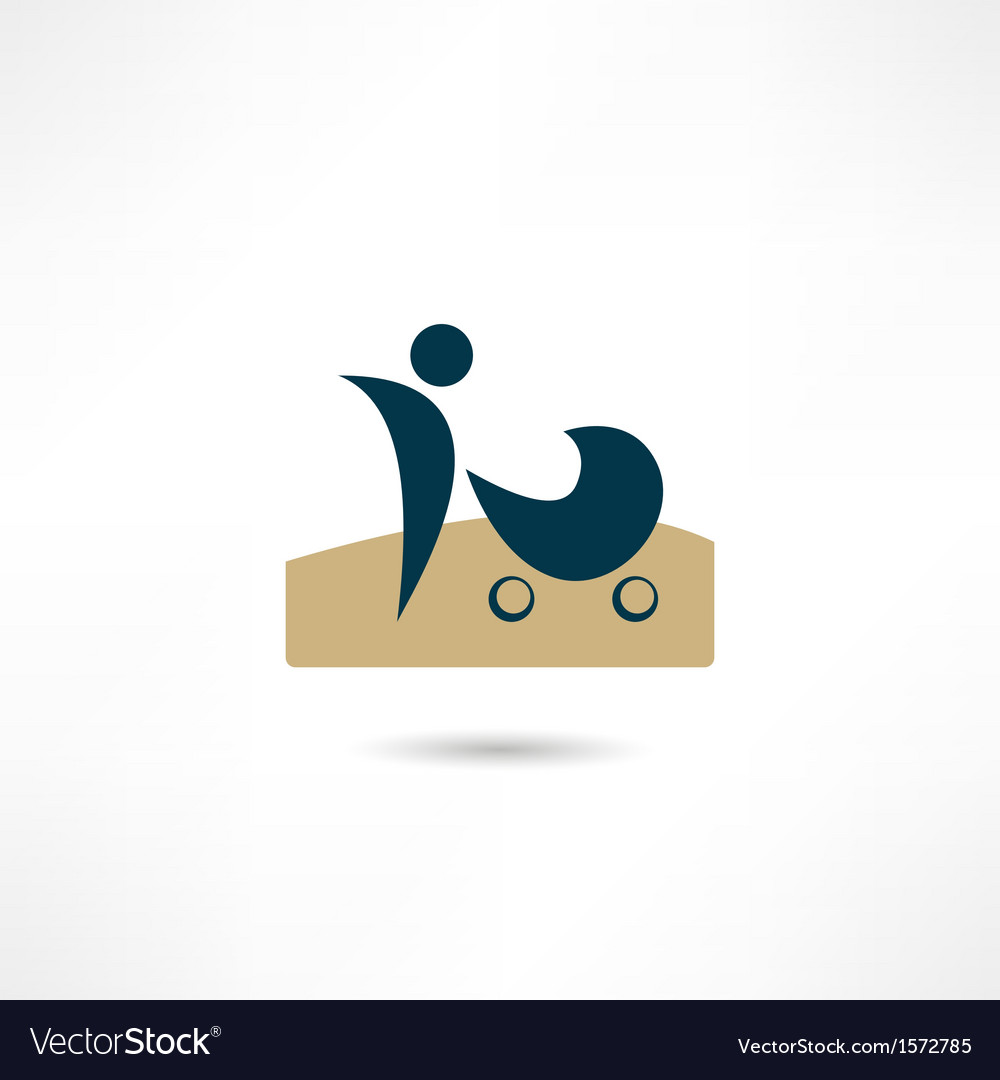 Mother with stroller icon vector | Price: 1 Credit (USD $1)