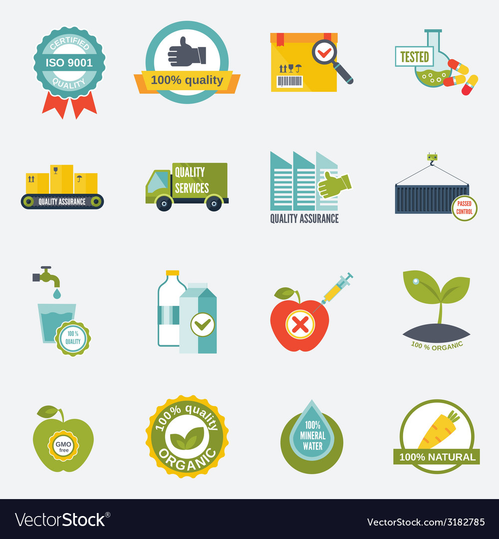 Quality control icons flat vector | Price: 1 Credit (USD $1)