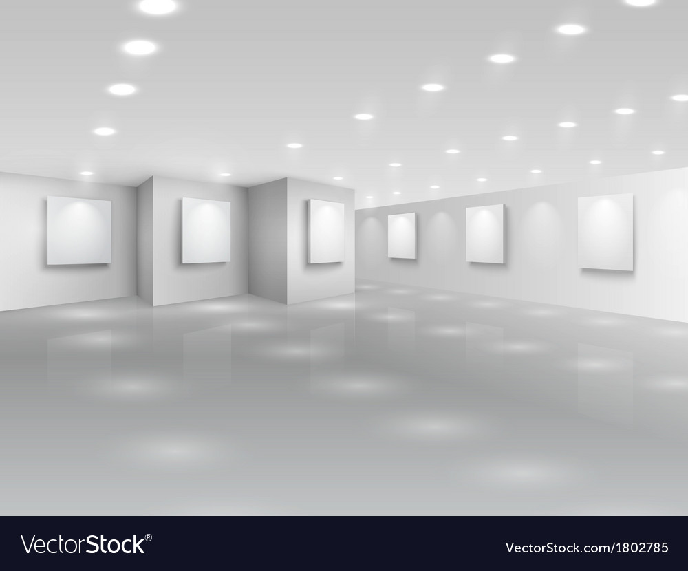 Realistic gallery hall with blank white canvases vector | Price: 1 Credit (USD $1)