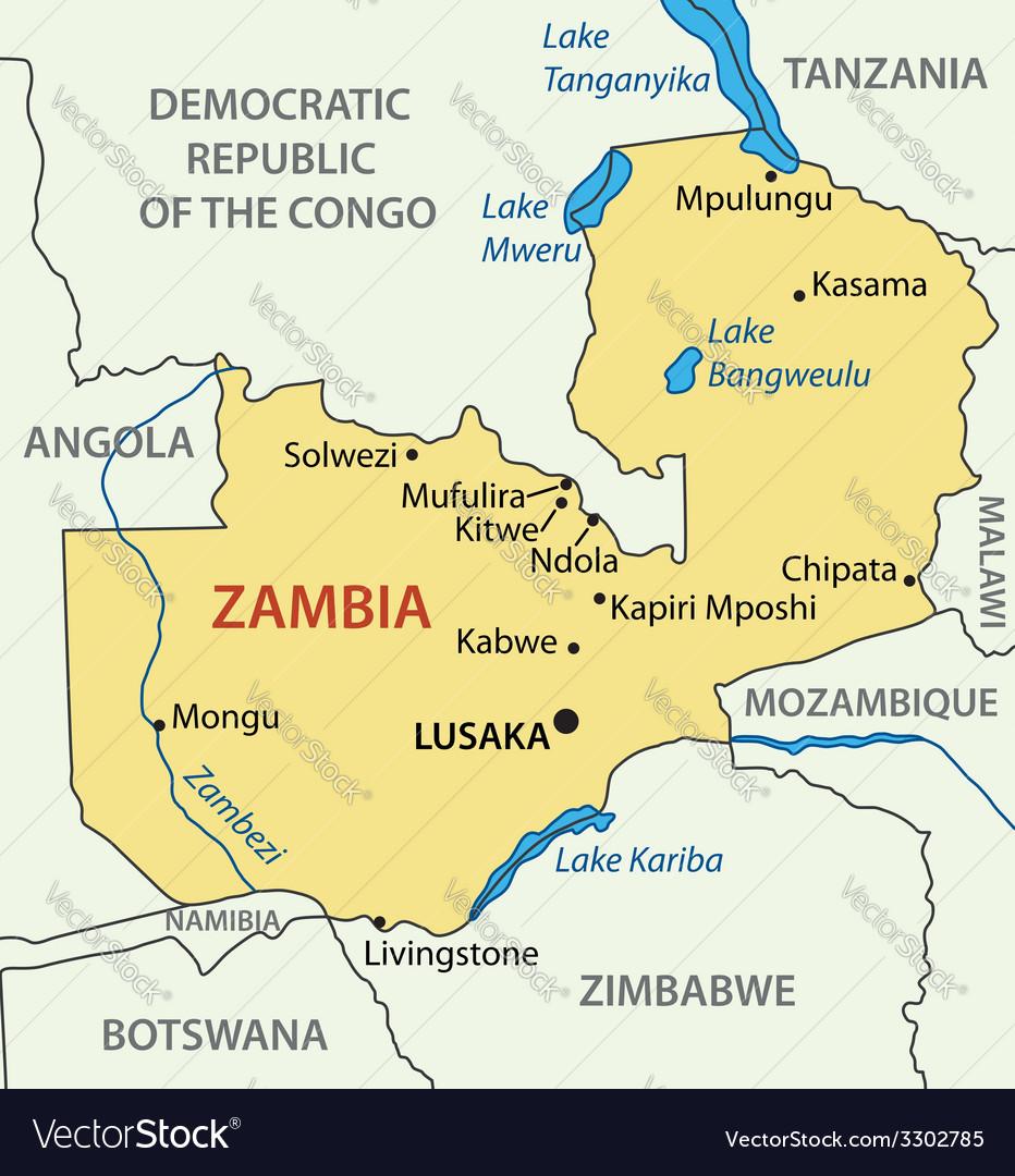Republic of zambia - map vector | Price: 1 Credit (USD $1)