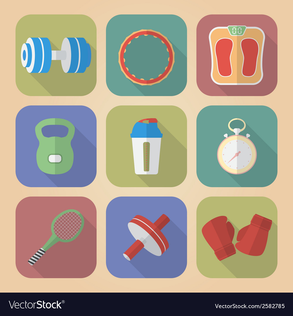 Set of fitnes icons modern flat style vector | Price: 1 Credit (USD $1)