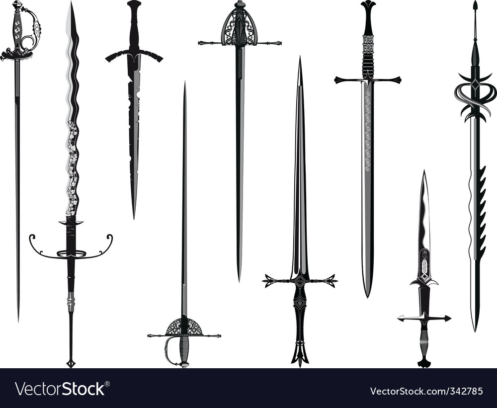 Silhouette collection of swords vector | Price: 1 Credit (USD $1)