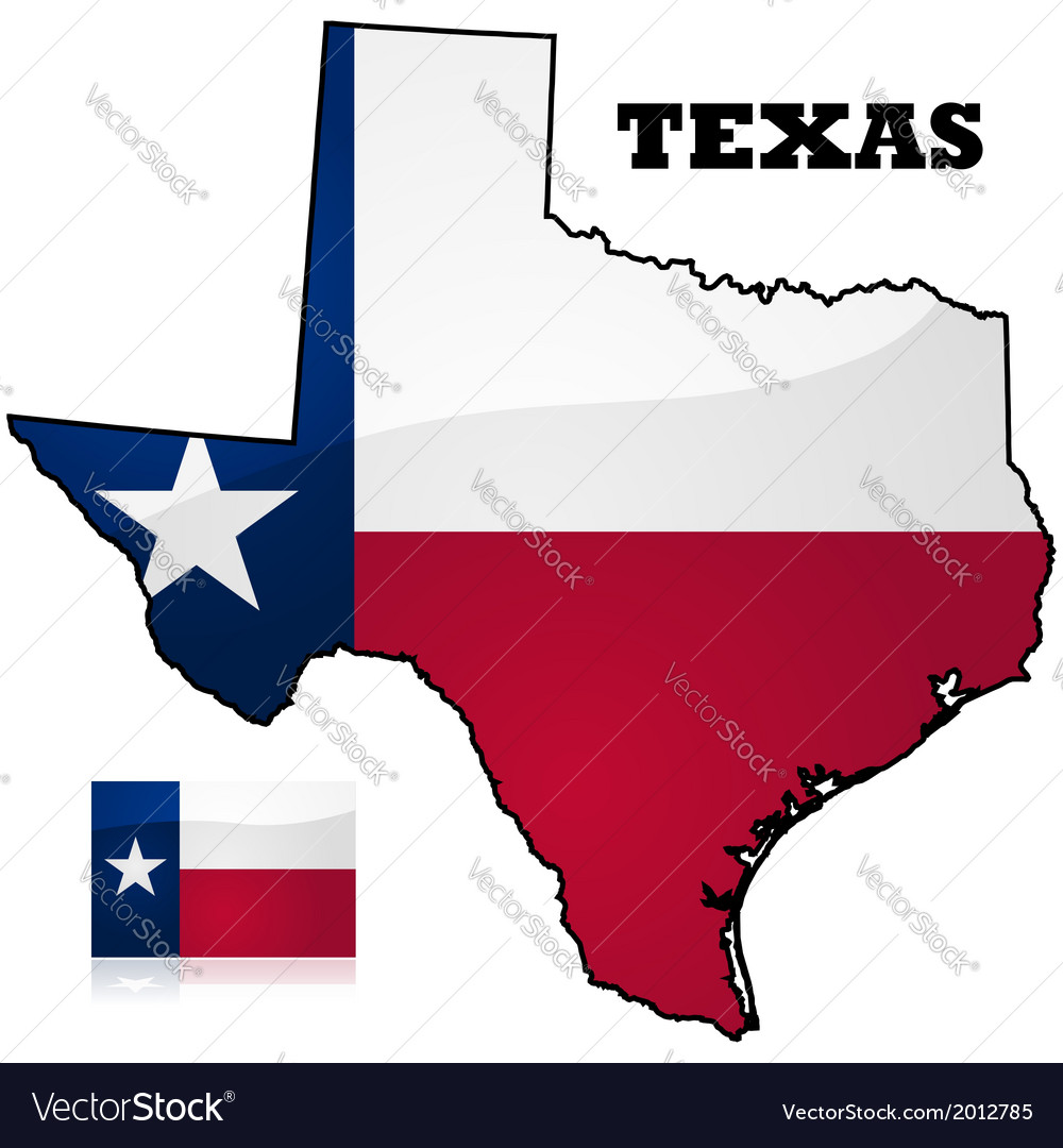 Texas map and flag vector | Price: 1 Credit (USD $1)