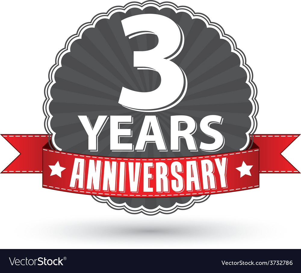 Celebrating 3 years anniversary retro label with vector | Price: 1 Credit (USD $1)