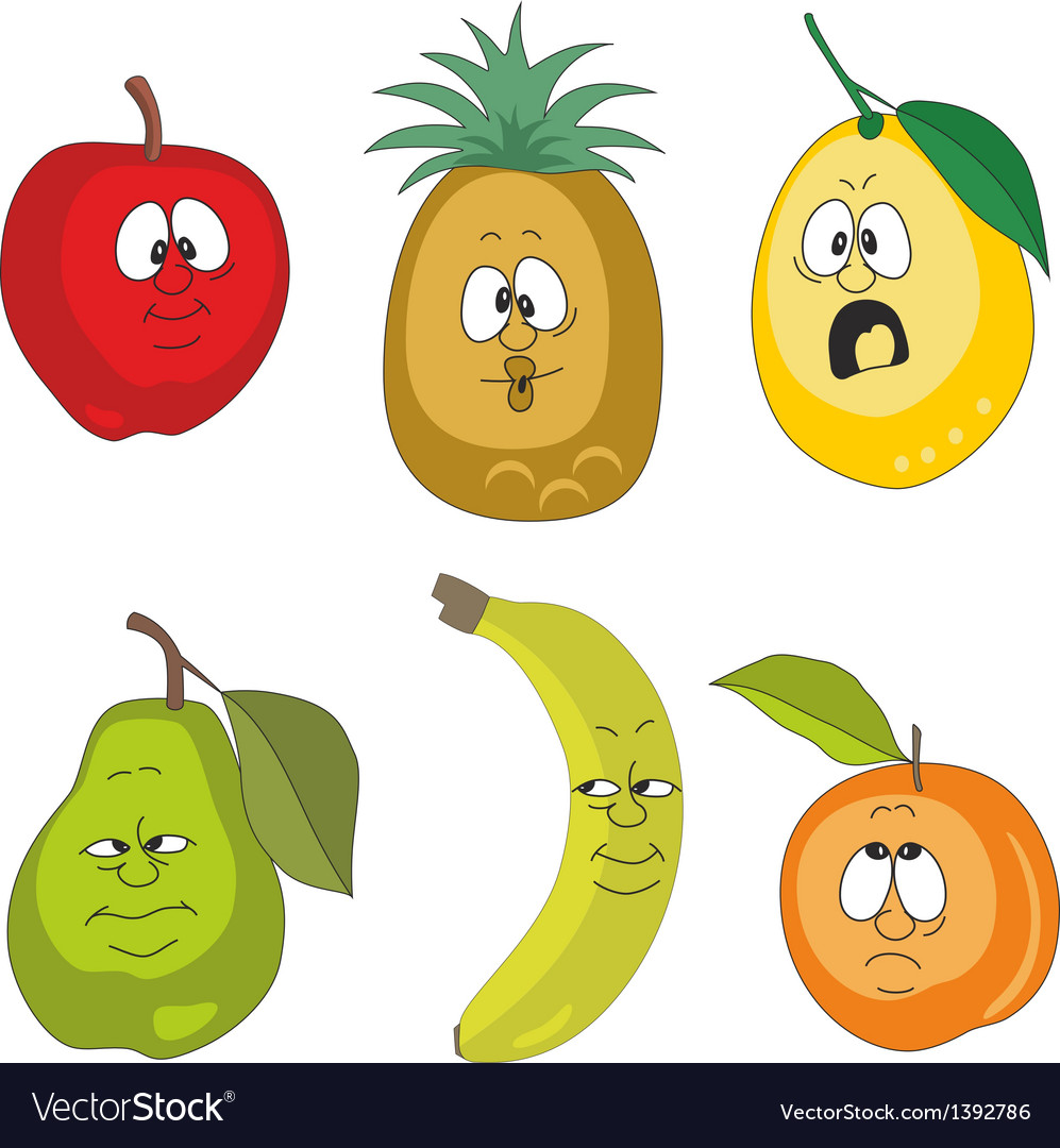 Emotion fruits set vector | Price: 1 Credit (USD $1)