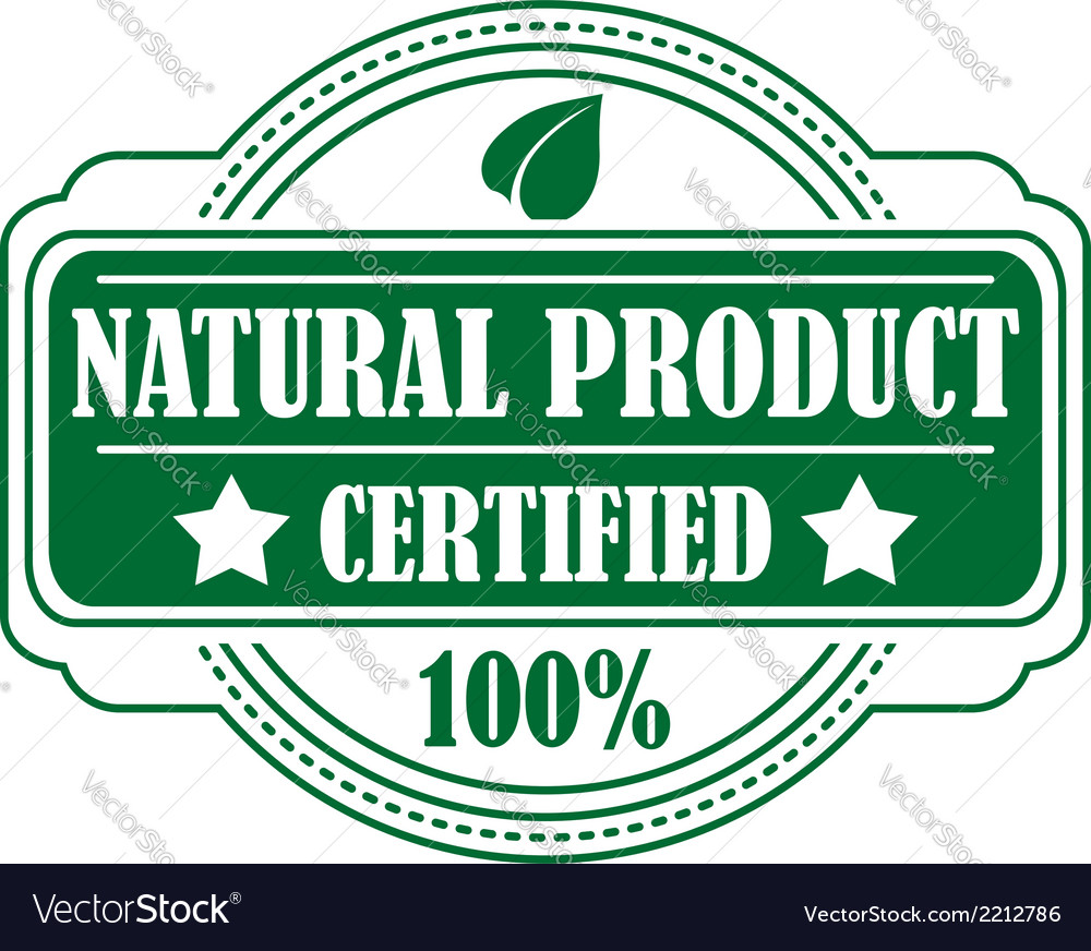 Guarantee label certifying a natural product vector | Price: 1 Credit (USD $1)