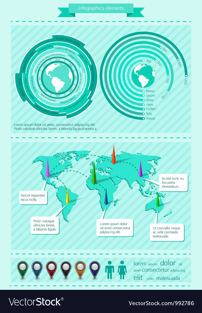 Infographics elements with world map vector