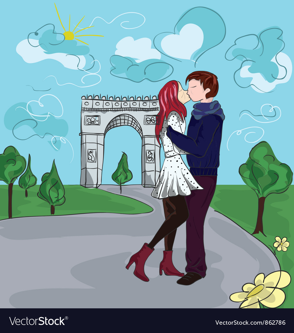 Paris doodles with lovers vector | Price: 3 Credit (USD $3)