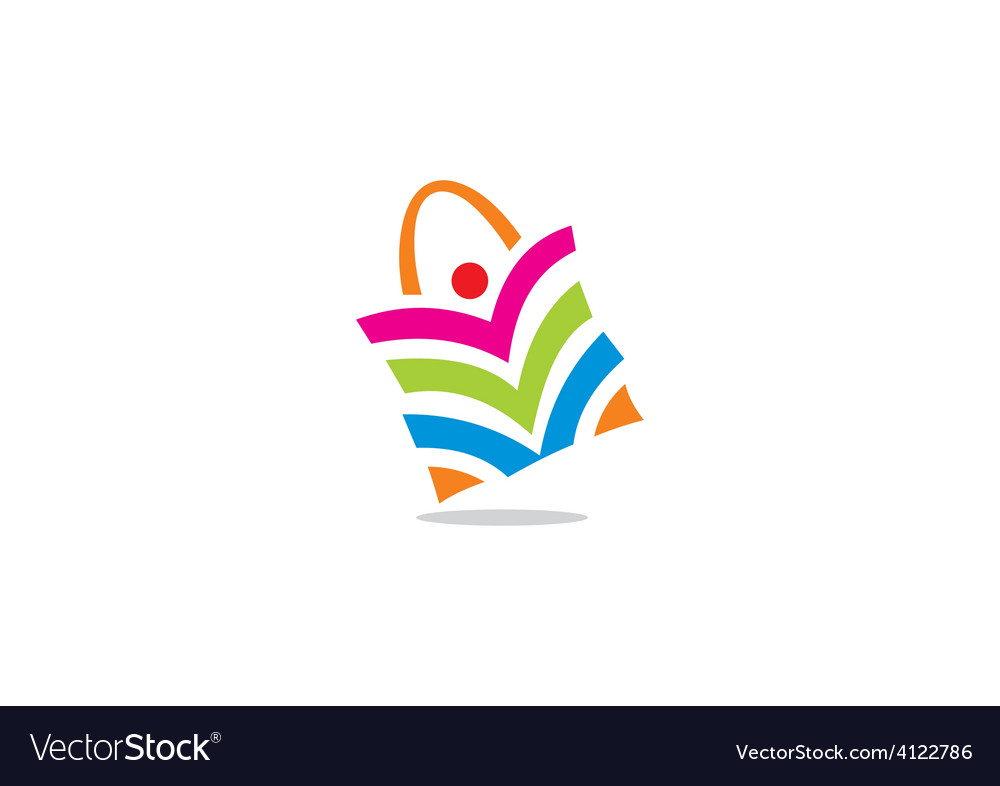 People shopping bag color logo vector | Price: 1 Credit (USD $1)