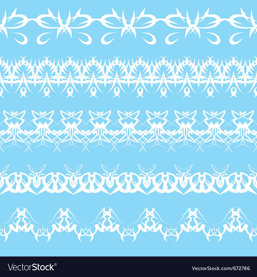 Set of white lace edging ornaments on a blue backg vector | Price: 1 Credit (USD $1)
