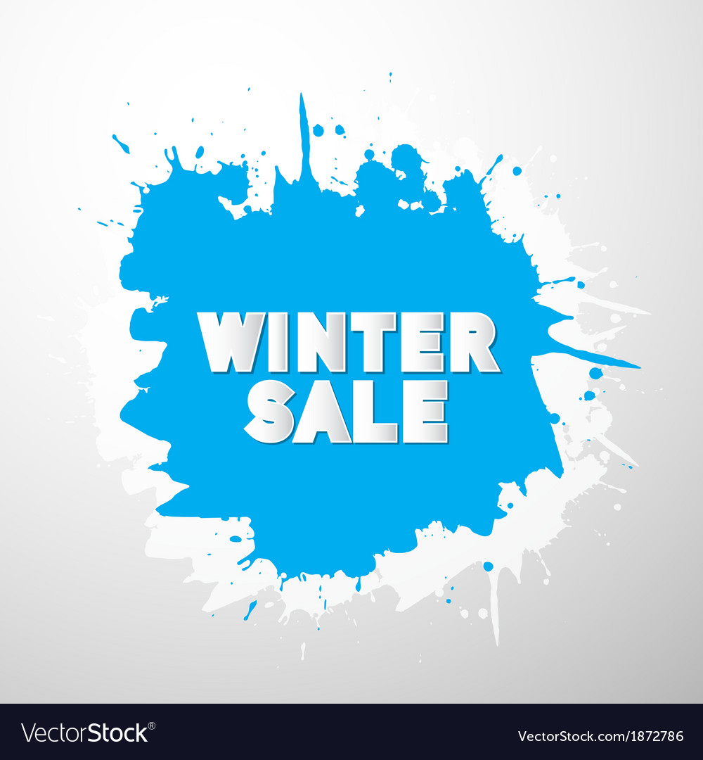 Winter sale title on blue splash blot vector | Price: 1 Credit (USD $1)