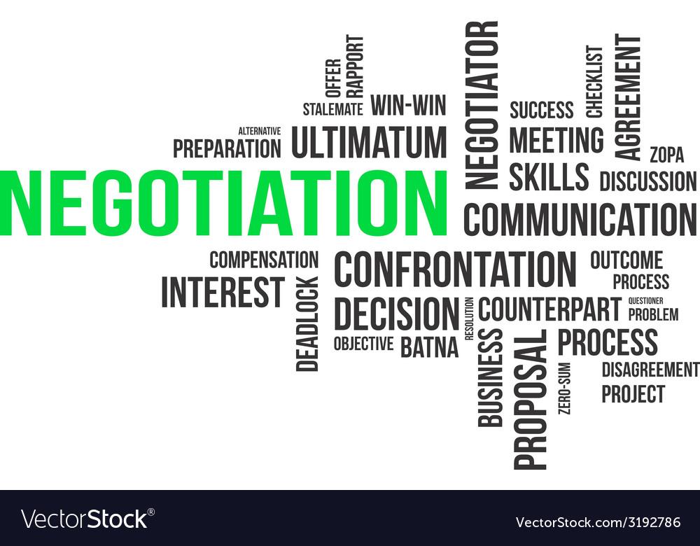 Word cloud negotiation vector | Price: 1 Credit (USD $1)