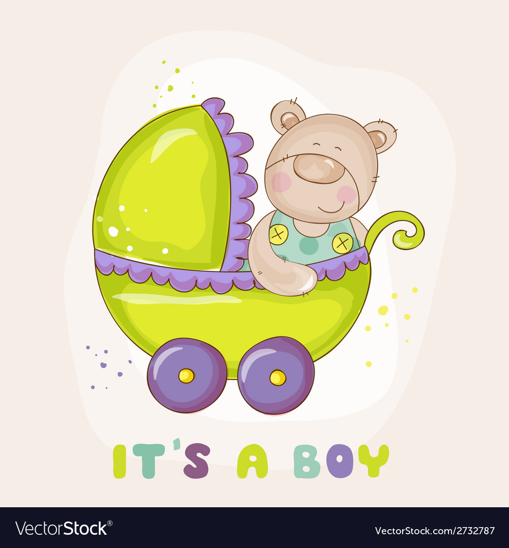 Baby bear in carriage - for baby shower vector | Price: 3 Credit (USD $3)