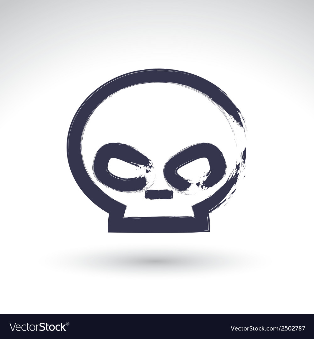 Brush drawing simple human skull painted medicine vector | Price: 1 Credit (USD $1)
