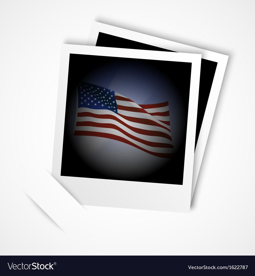 Polaroid usa flag vector