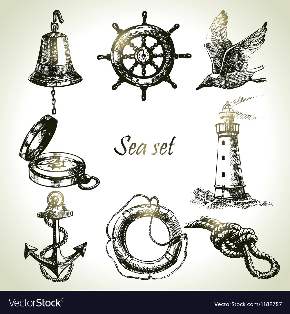 Sea set of nautical design elements vector | Price: 1 Credit (USD $1)