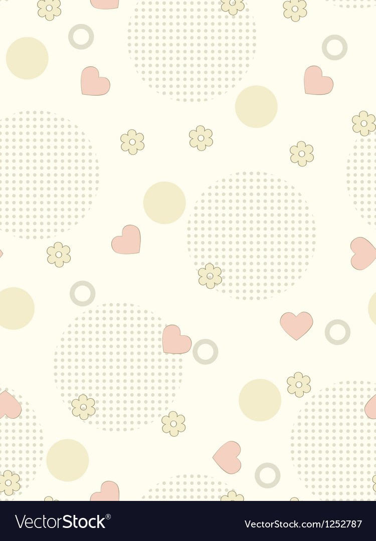 Seamless background with flowers and hearths vector | Price: 1 Credit (USD $1)