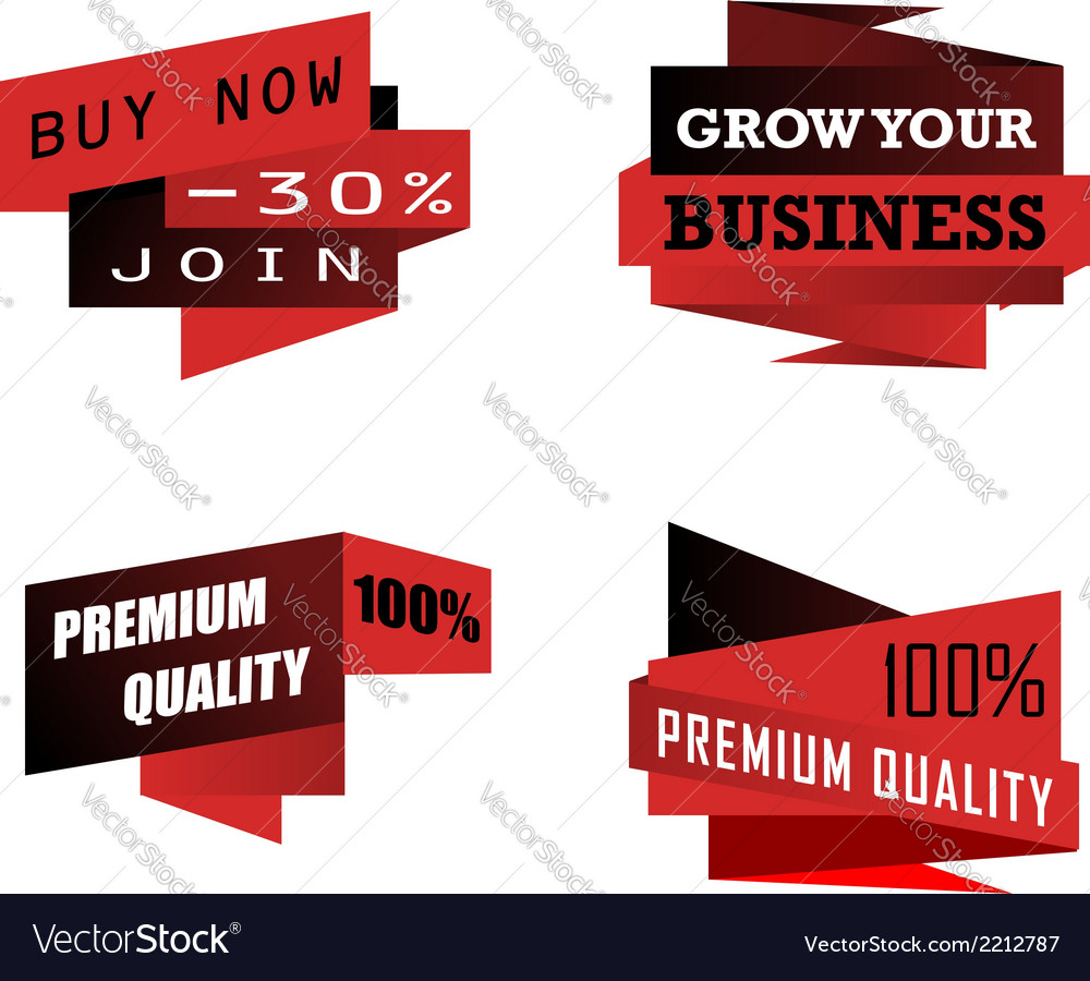 Set of origami business icons or labels vector | Price: 1 Credit (USD $1)