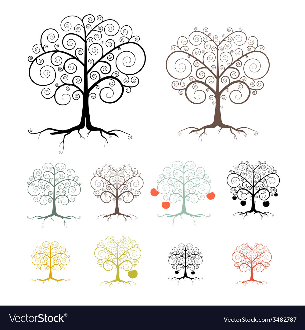 Trees set isolated on white background - abstract vector | Price: 1 Credit (USD $1)