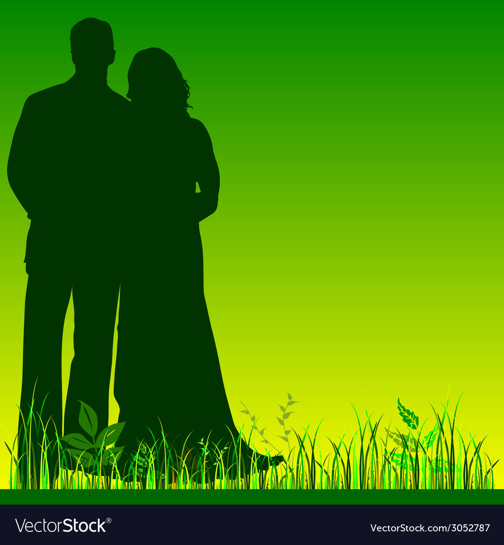 Wedding couple silhouette in green color vector | Price: 1 Credit (USD $1)
