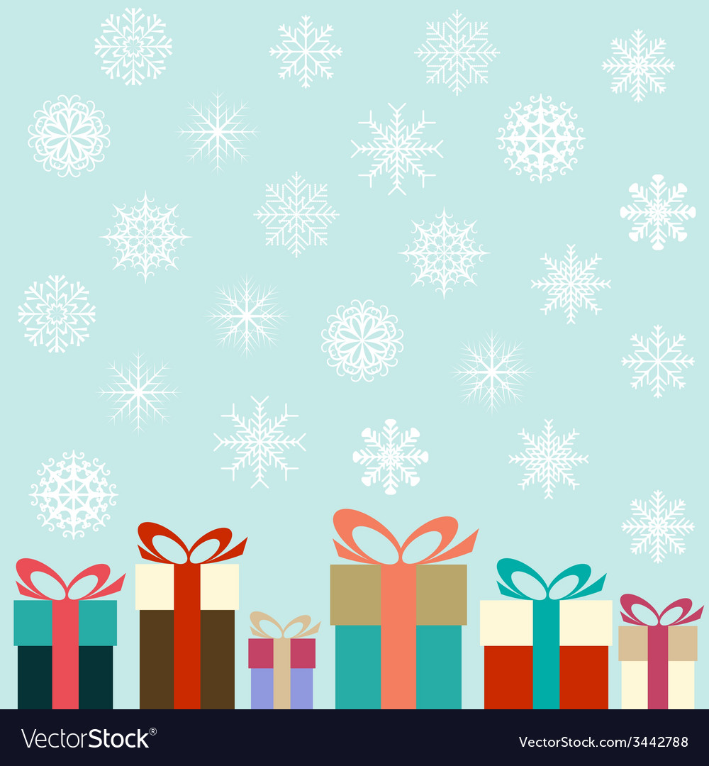 Flat colorful gifts and snowflakes vector | Price: 1 Credit (USD $1)