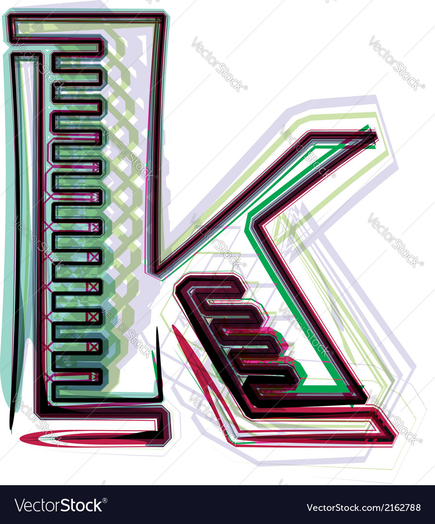 Font letter k vector | Price: 1 Credit (USD $1)