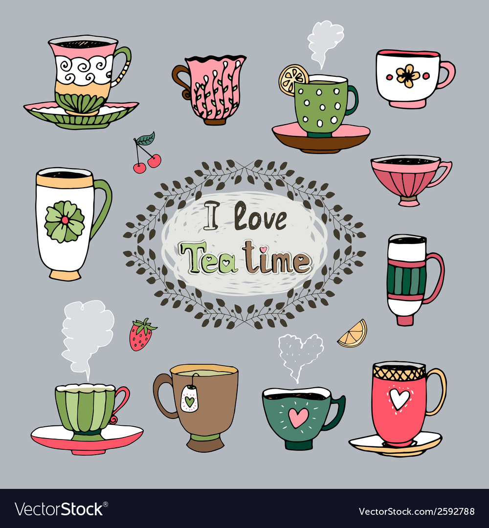 I love tea time vector | Price: 1 Credit (USD $1)