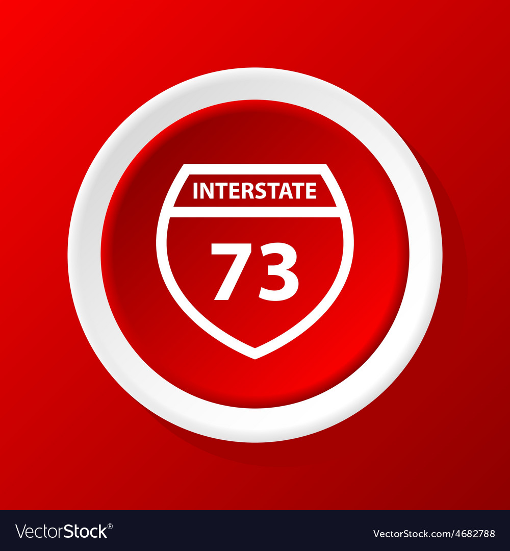 Interstate 73 icon on red vector | Price: 1 Credit (USD $1)