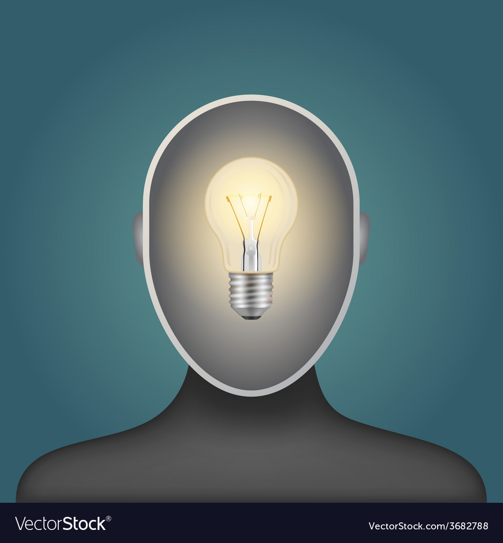 Light bulb in a man head vector | Price: 1 Credit (USD $1)