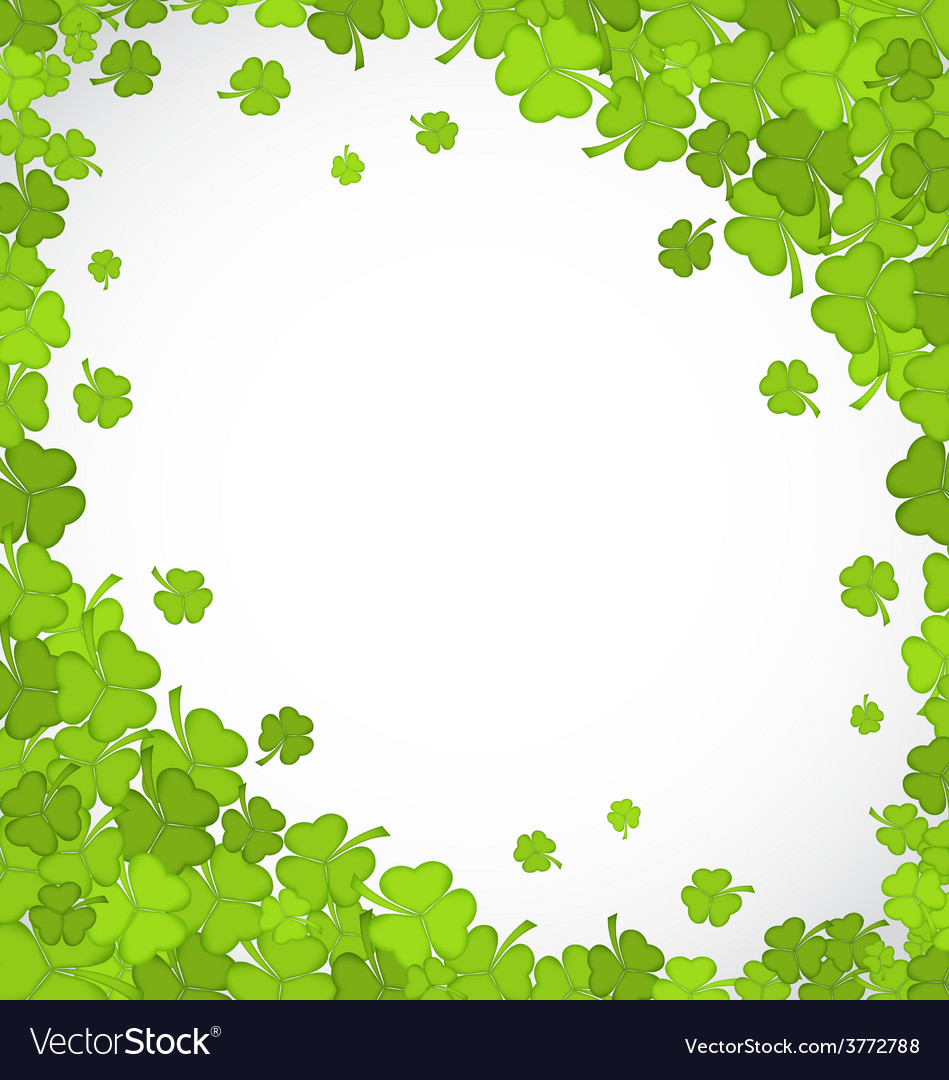 Natural frame with clovers for st patricks day vector