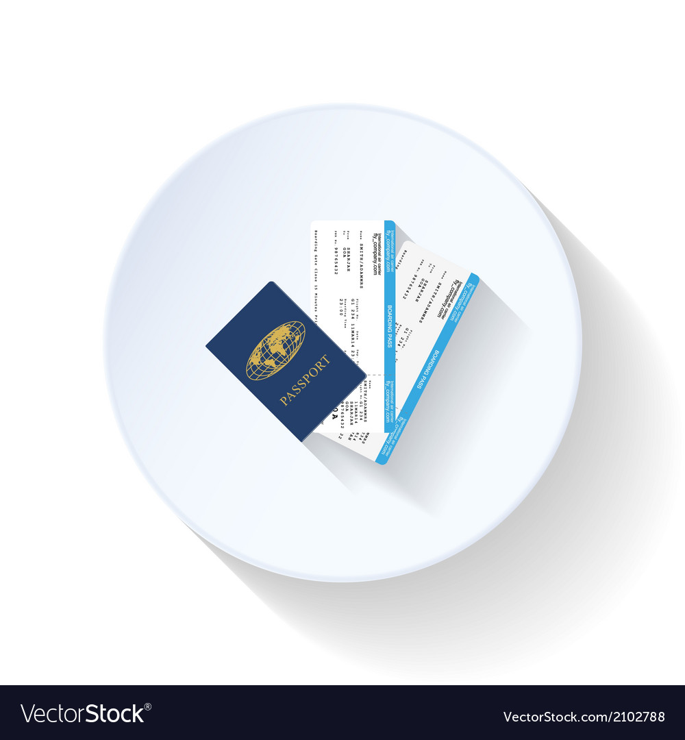 Passport and airline tickets flat icon vector | Price: 1 Credit (USD $1)