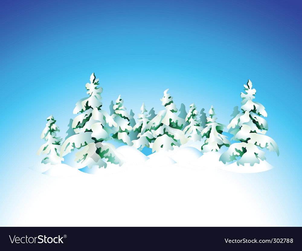 Winter snow forest vector | Price: 1 Credit (USD $1)