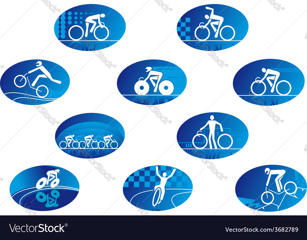 Blue bicycle sport icons with reflection vector | Price: 1 Credit (USD $1)