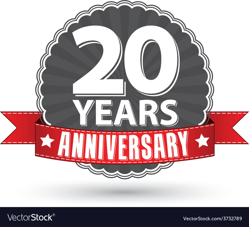 Celebrating 20 years anniversary retro label with vector | Price: 1 Credit (USD $1)