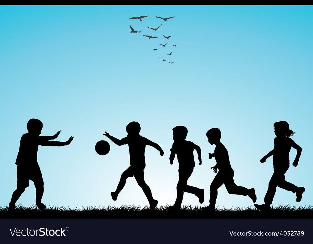 Children silhouettes playing football vector | Price: 1 Credit (USD $1)