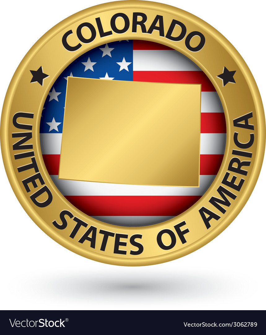 Colorado state gold label with state map vector | Price: 1 Credit (USD $1)