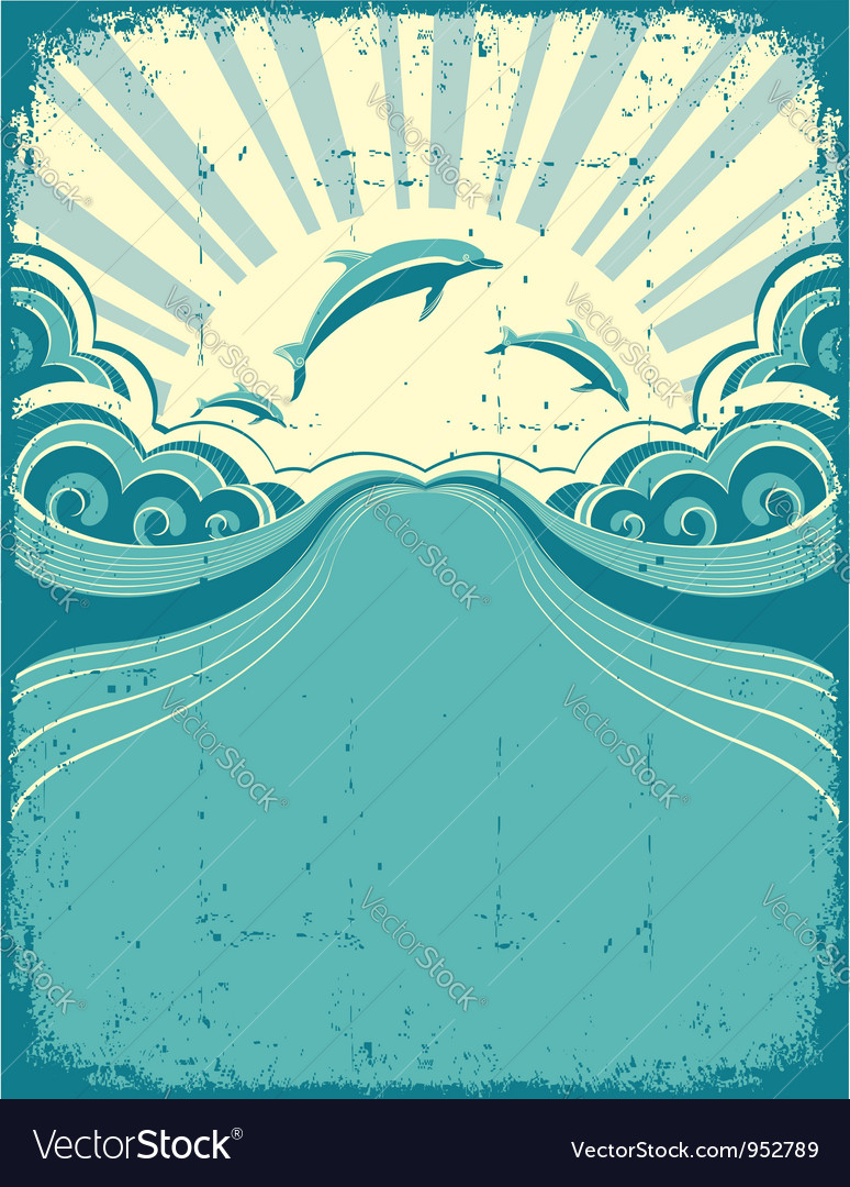 Grunge dolphins poster vector | Price: 1 Credit (USD $1)