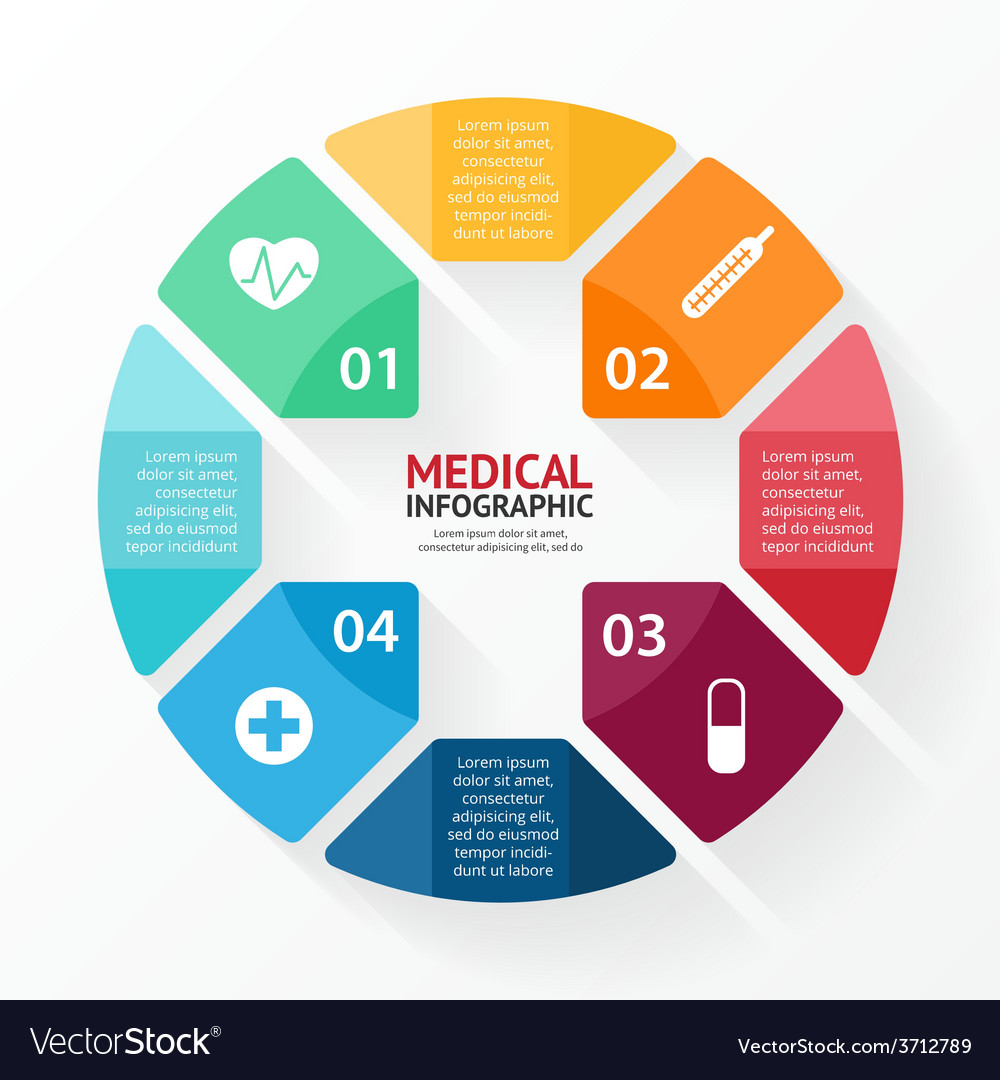 Medical plus sign healthcare hospital infographic vector | Price: 1 Credit (USD $1)