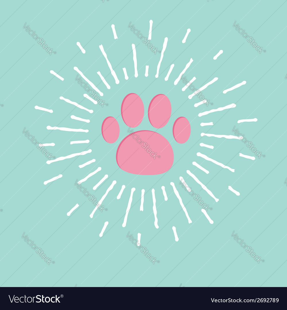 Paw print with shining effect ray of light blue vector | Price: 1 Credit (USD $1)