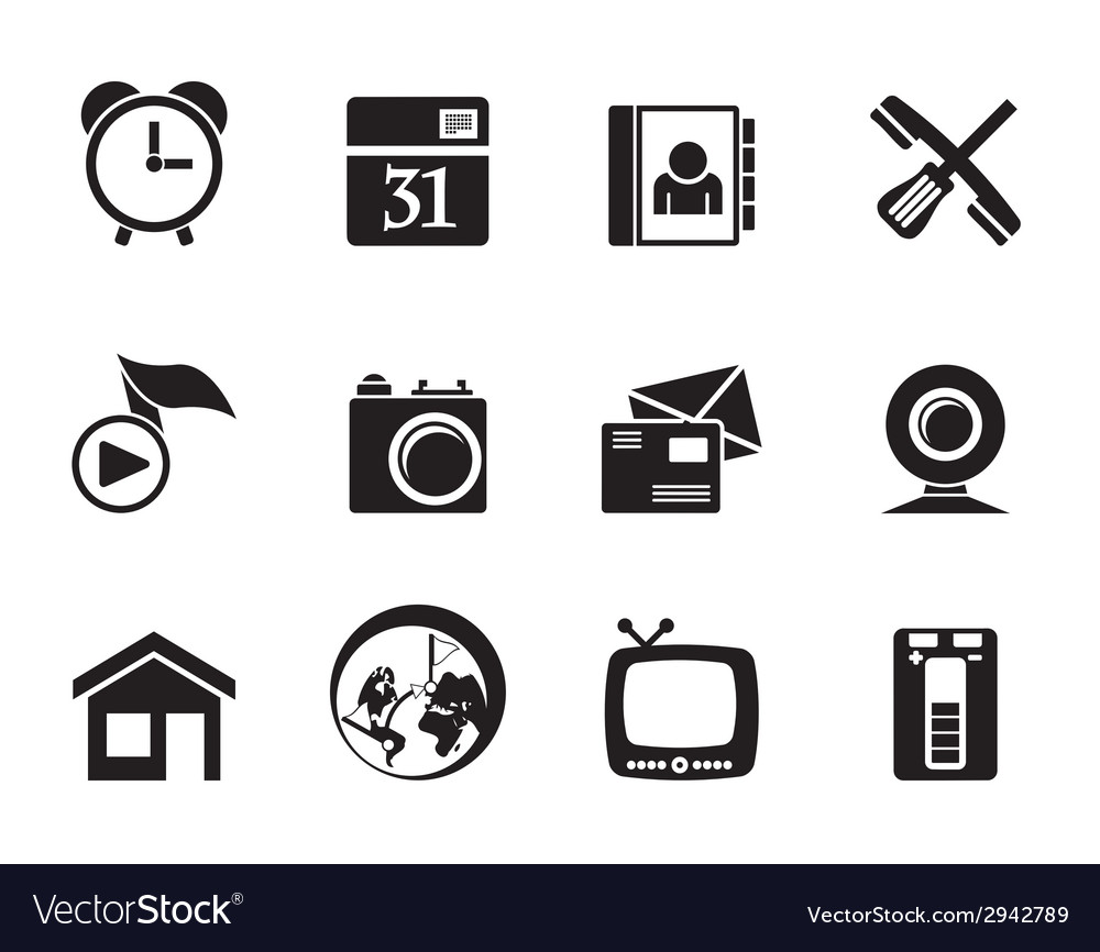 Silhouette mobile phone and computer icons vector | Price: 1 Credit (USD $1)