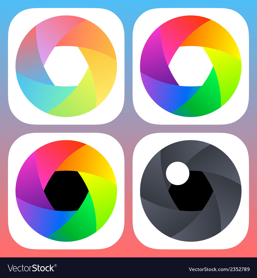 Simple flat camera objective icons for mobile ios vector | Price: 1 Credit (USD $1)