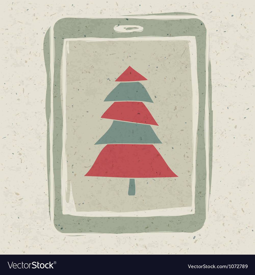 Xmas tree tablet vector | Price: 1 Credit (USD $1)